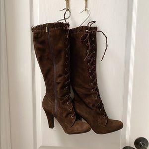 Colin Stewart Brown Suede Lace Up Knee High Boot